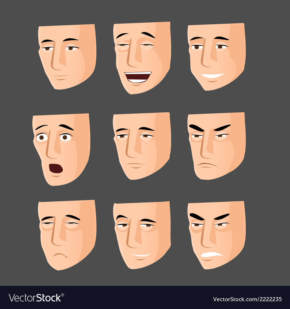 Collection of cartoon emotion faces vector | Price: 1 Credit (USD $1)