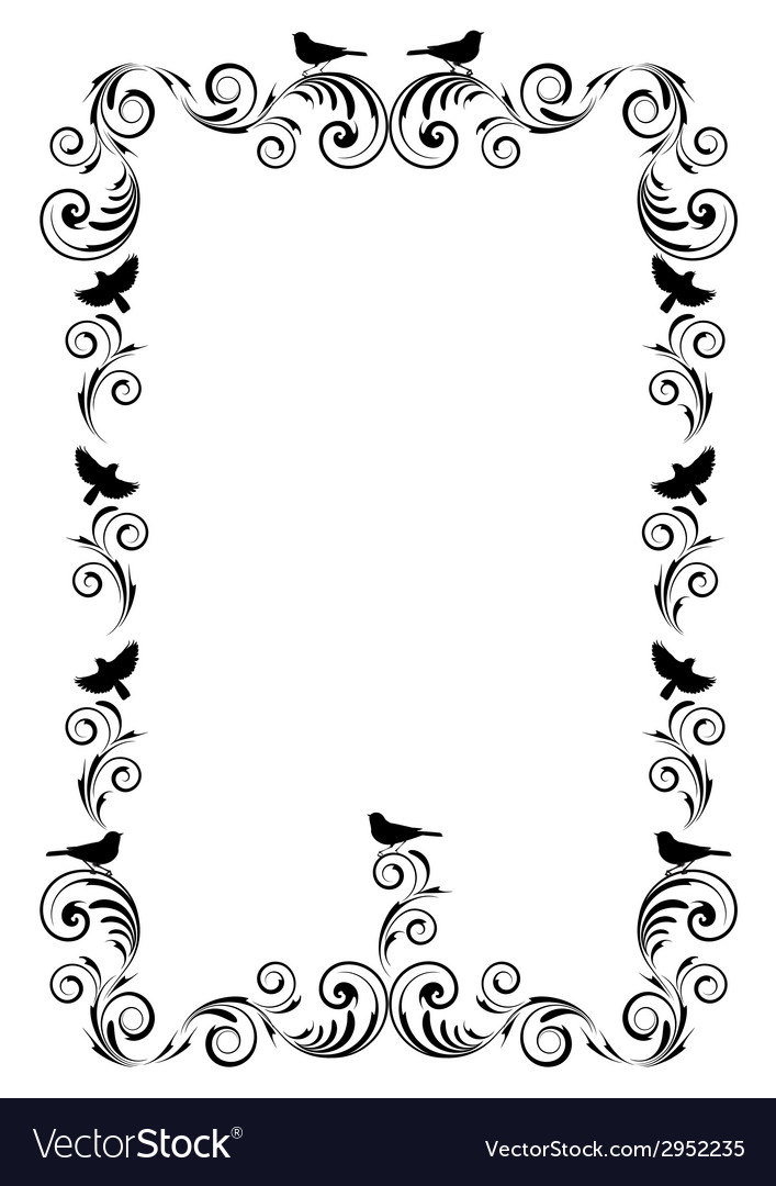 Frame with ornament and birds vector | Price: 1 Credit (USD $1)
