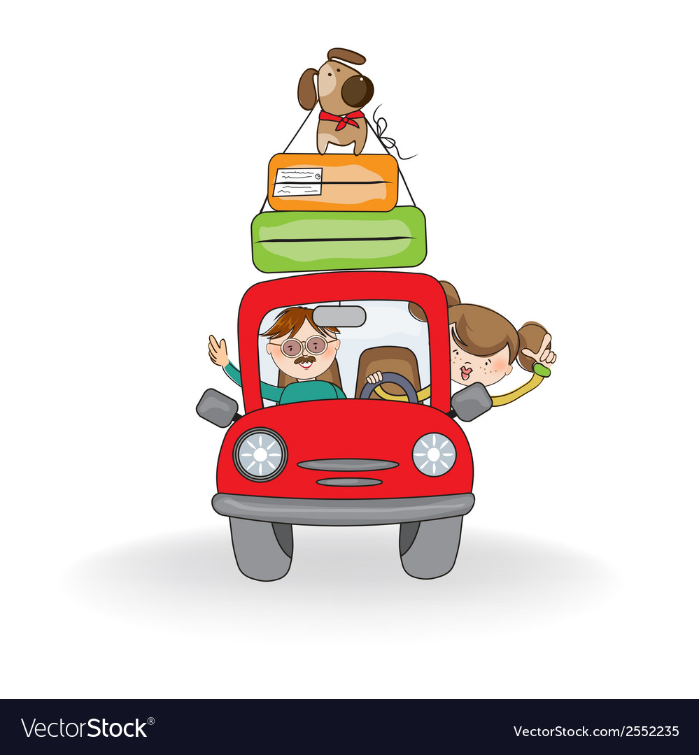 Man and woman traveling by the car vector   Price: 1 Credit (USD $1)