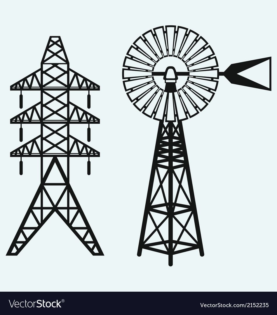 Old windmill and electric pole vector | Price: 1 Credit (USD $1)