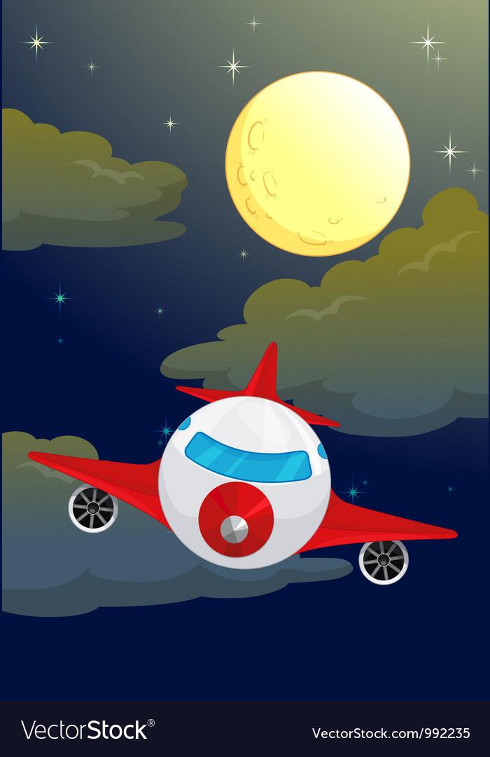Plane night flying vector | Price: 1 Credit (USD $1)