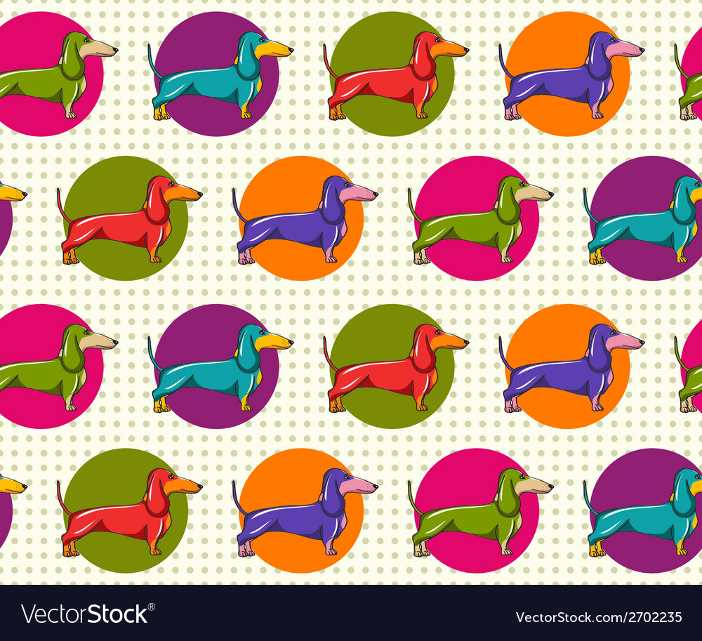 Seamless pattern with dachshund vector | Price: 1 Credit (USD $1)