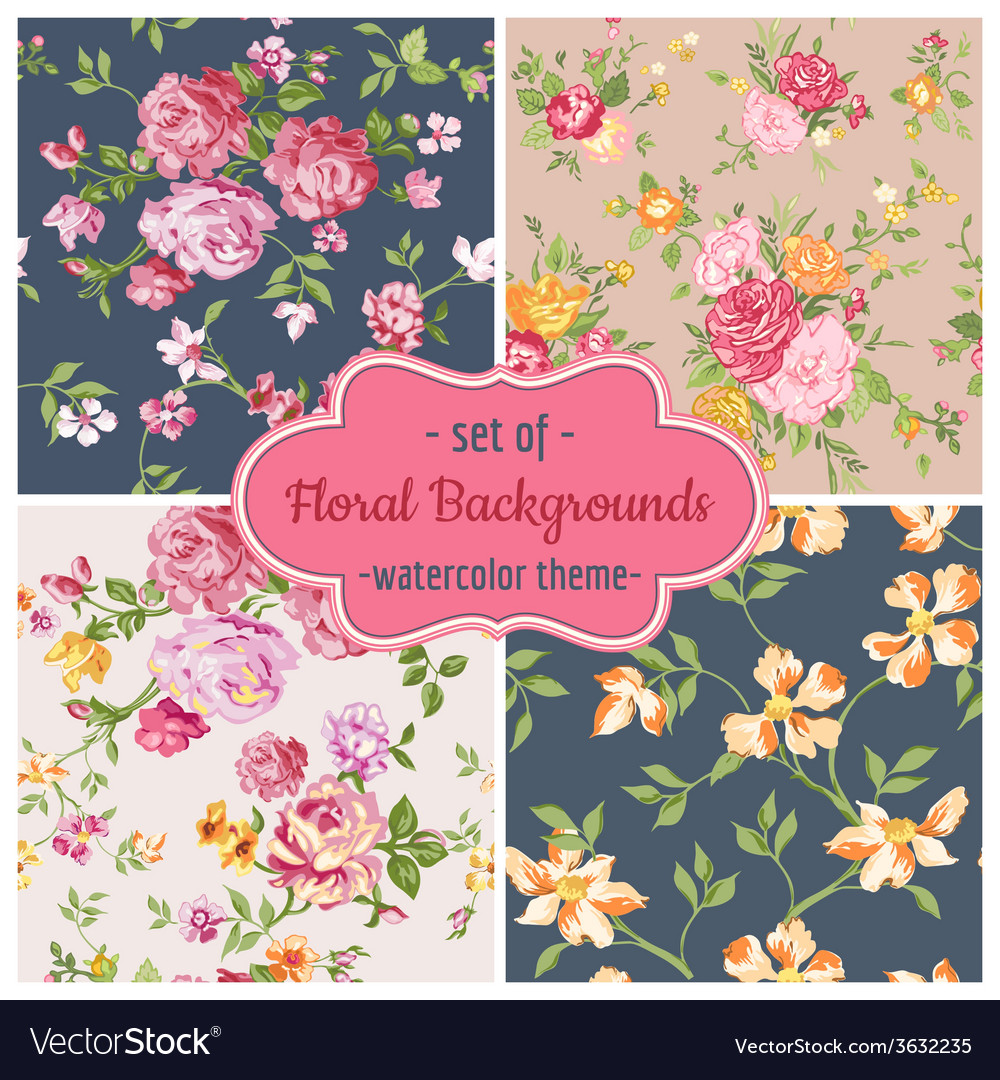 Set of seamless flower backgrounds vector | Price: 1 Credit (USD $1)