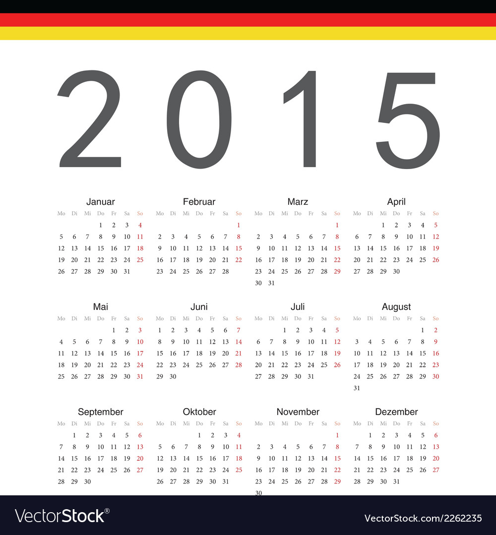 Simple german 2015 year calendar vector | Price: 1 Credit (USD $1)