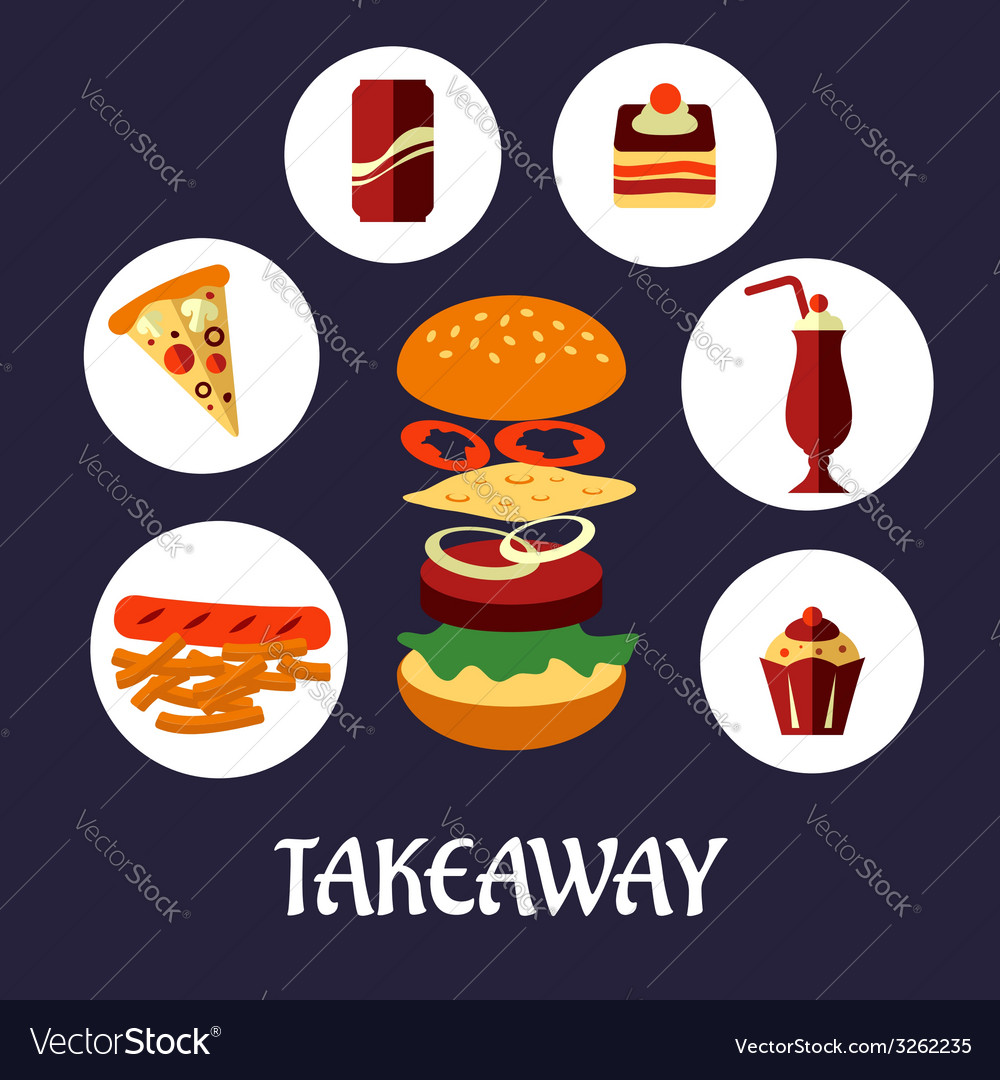 Takeaway food flat poster design vector | Price: 1 Credit (USD $1)