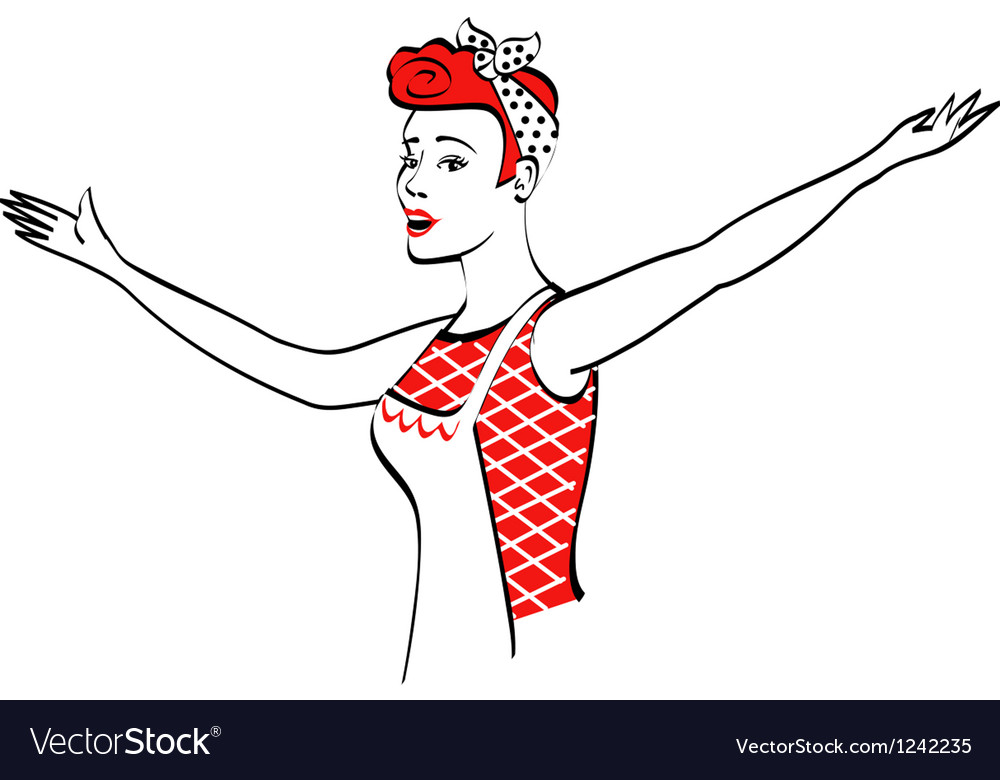 Vintage advertising woman design vector | Price: 1 Credit (USD $1)