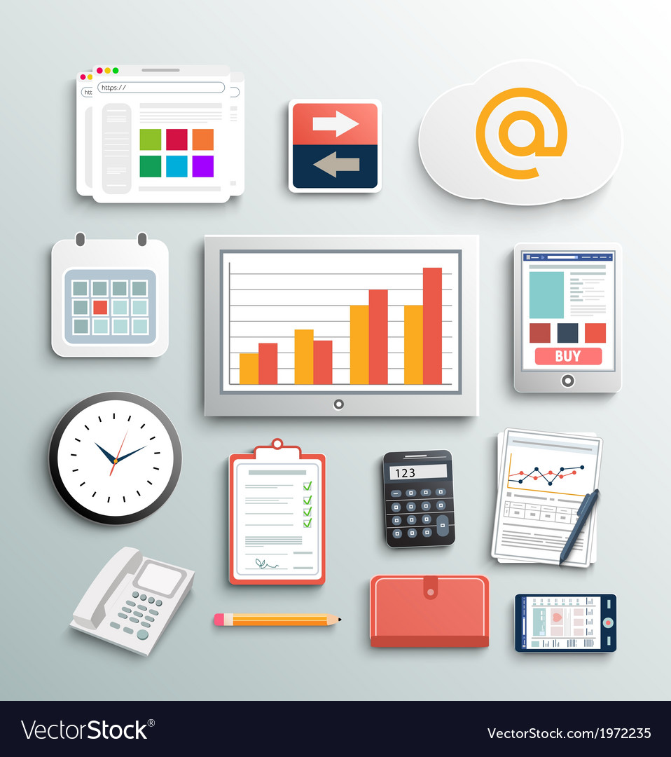 Workplace office and business work elements set vector | Price: 1 Credit (USD $1)