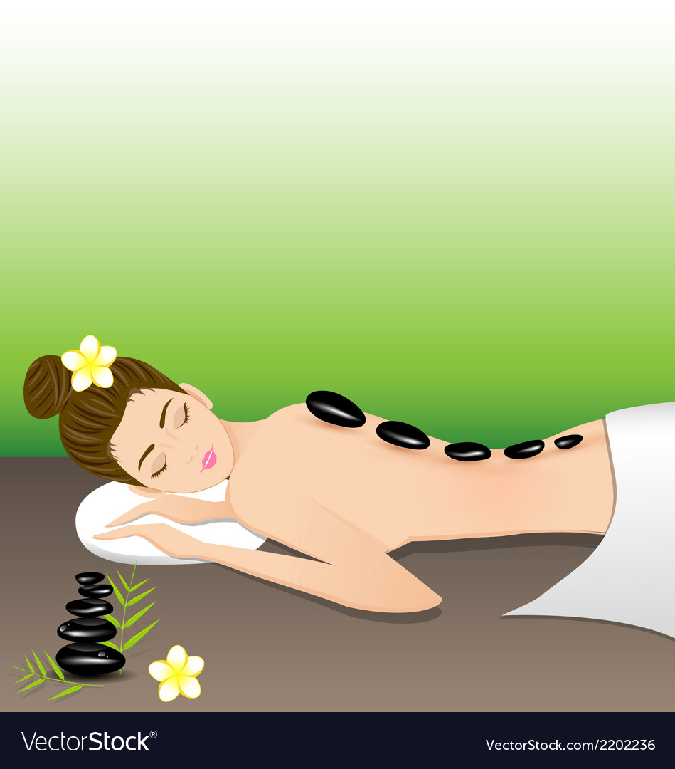 Beautiful woman lying a therapy with hot stones vector | Price: 1 Credit (USD $1)