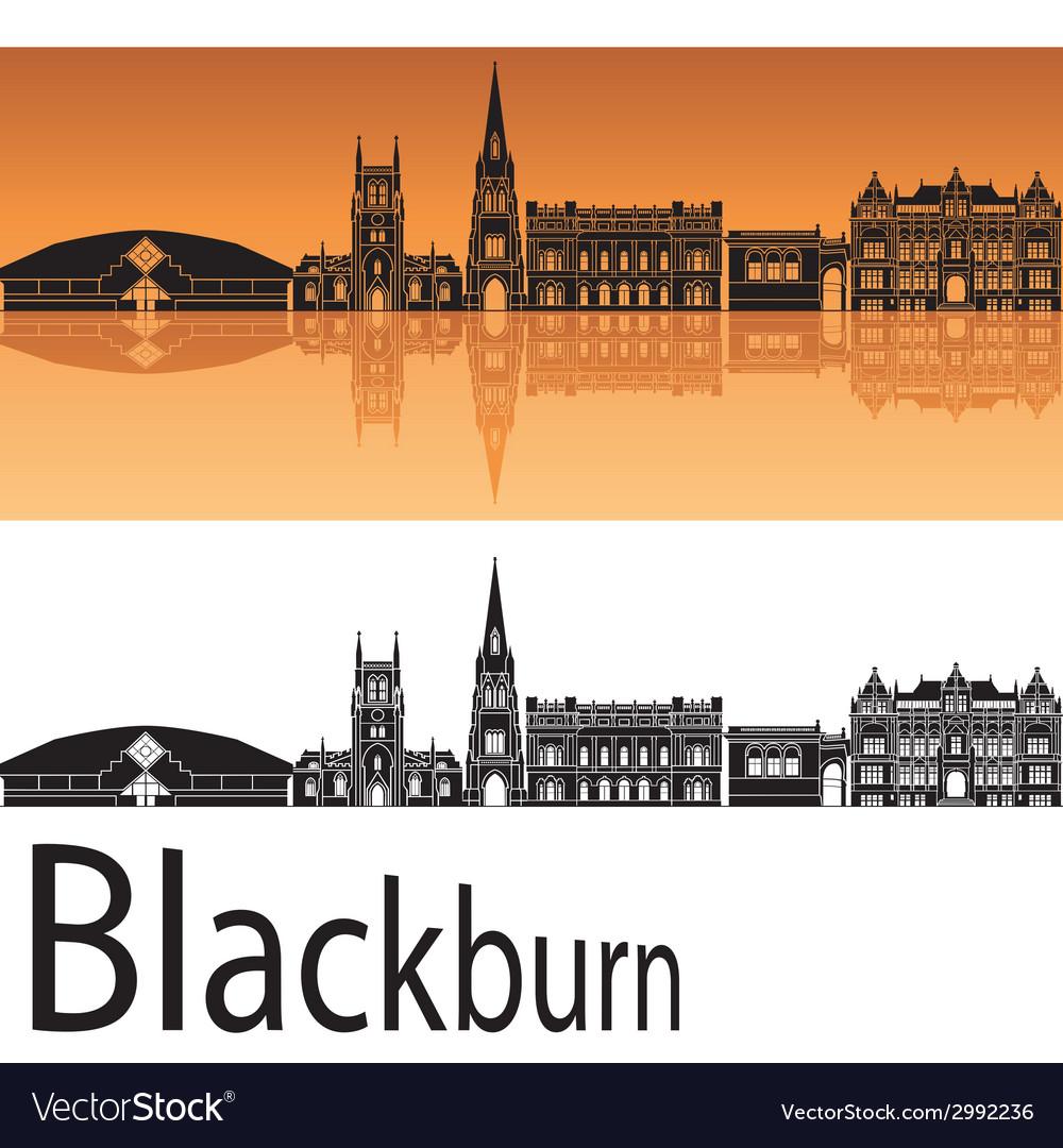 Blackburn skyline in orange background vector | Price: 1 Credit (USD $1)