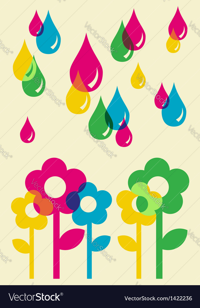 Drops watering flowers background vector | Price: 1 Credit (USD $1)