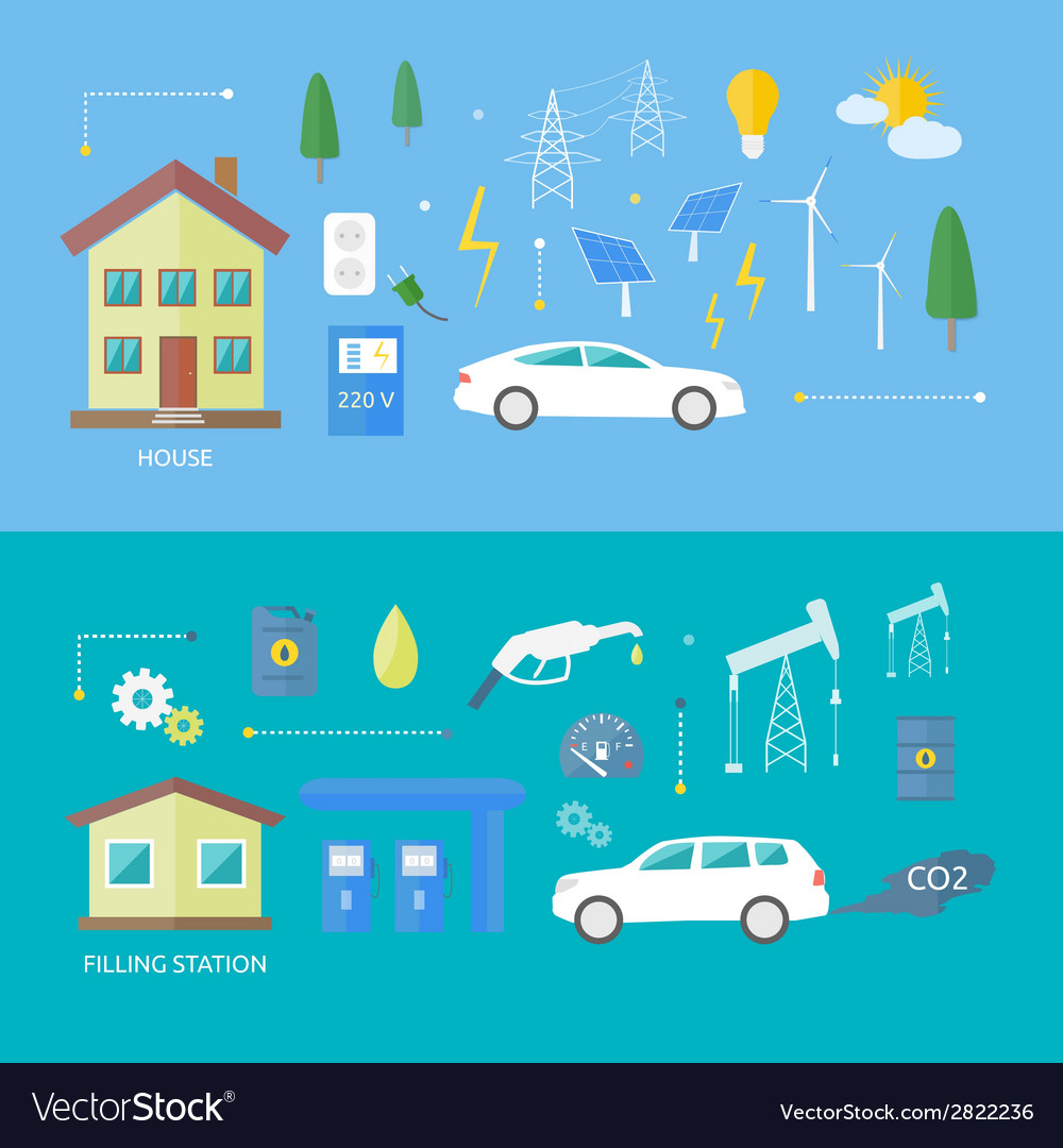 Electric cars and petrol car vector | Price: 1 Credit (USD $1)