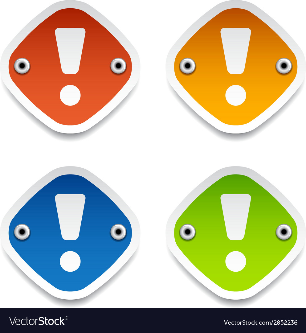 Exclamation mark labels vector | Price: 1 Credit (USD $1)
