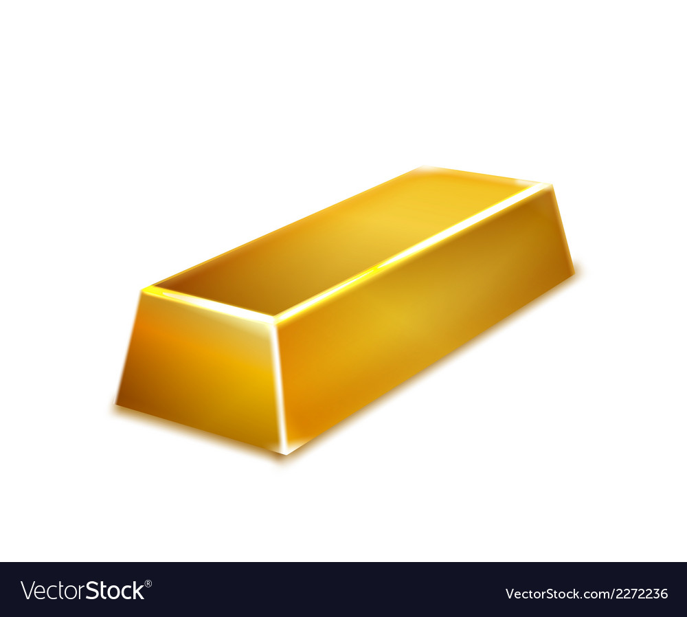 Gold bar isolated on white background vector | Price: 1 Credit (USD $1)