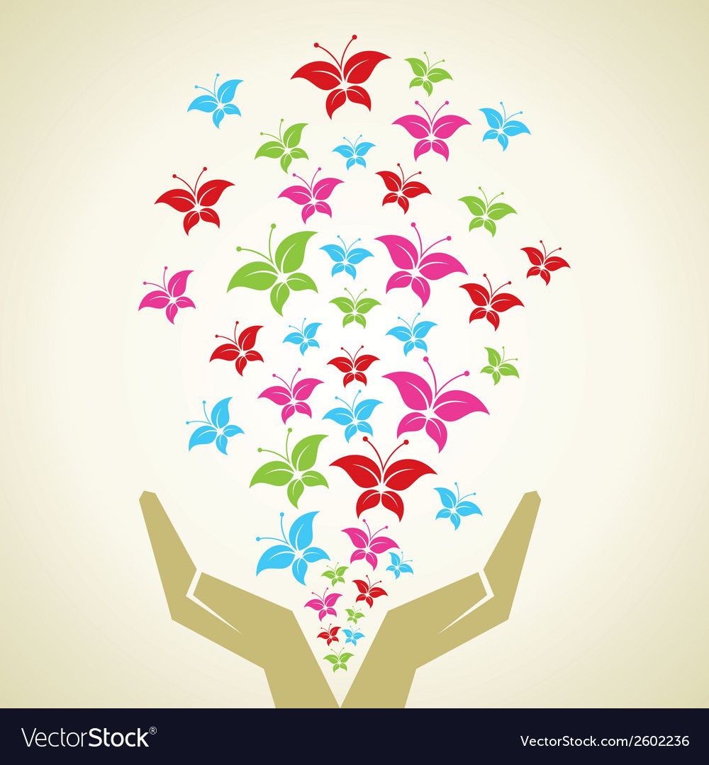 Hand emitted colorful butterflies background vector | Price: 1 Credit (USD $1)