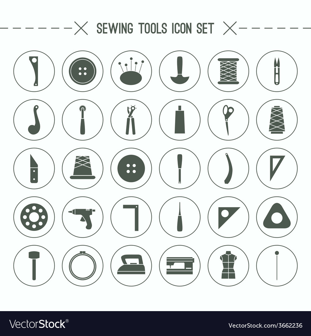 Icons set sewing and hobby tools vector   Price: 1 Credit (USD $1)