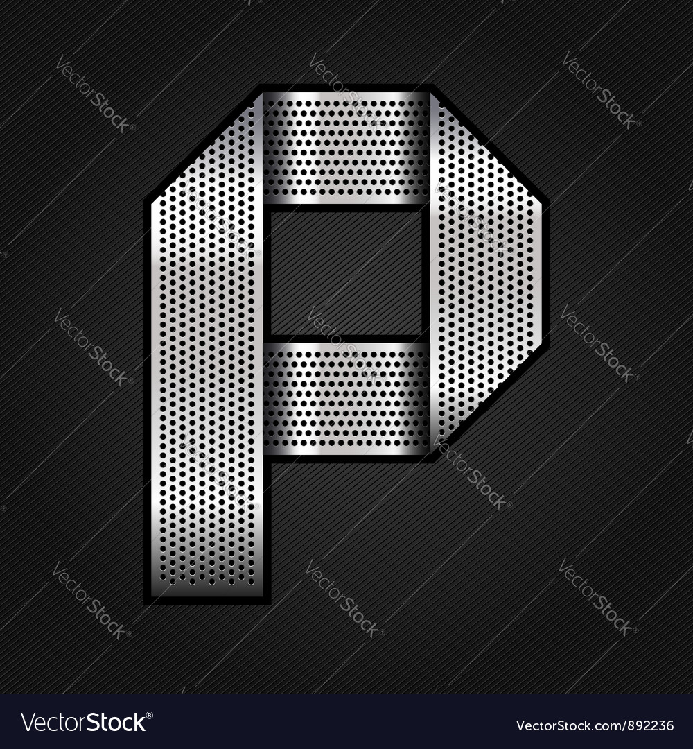 Letter metal chrome ribbon  p vector