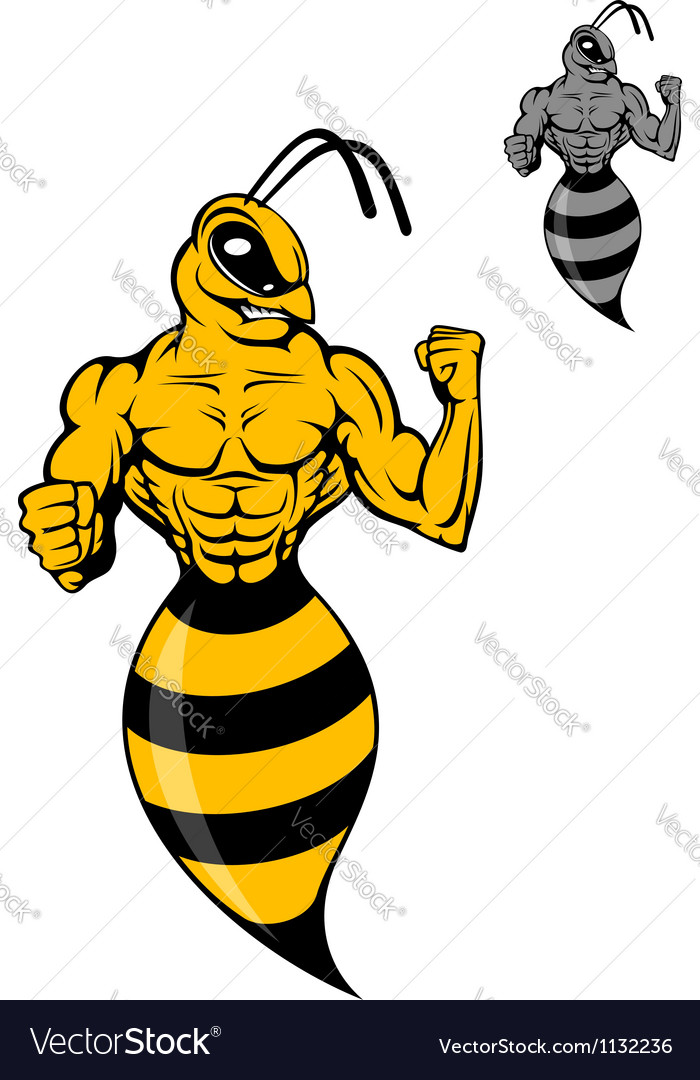 Powerful wasp or yellow hornet vector | Price: 1 Credit (USD $1)