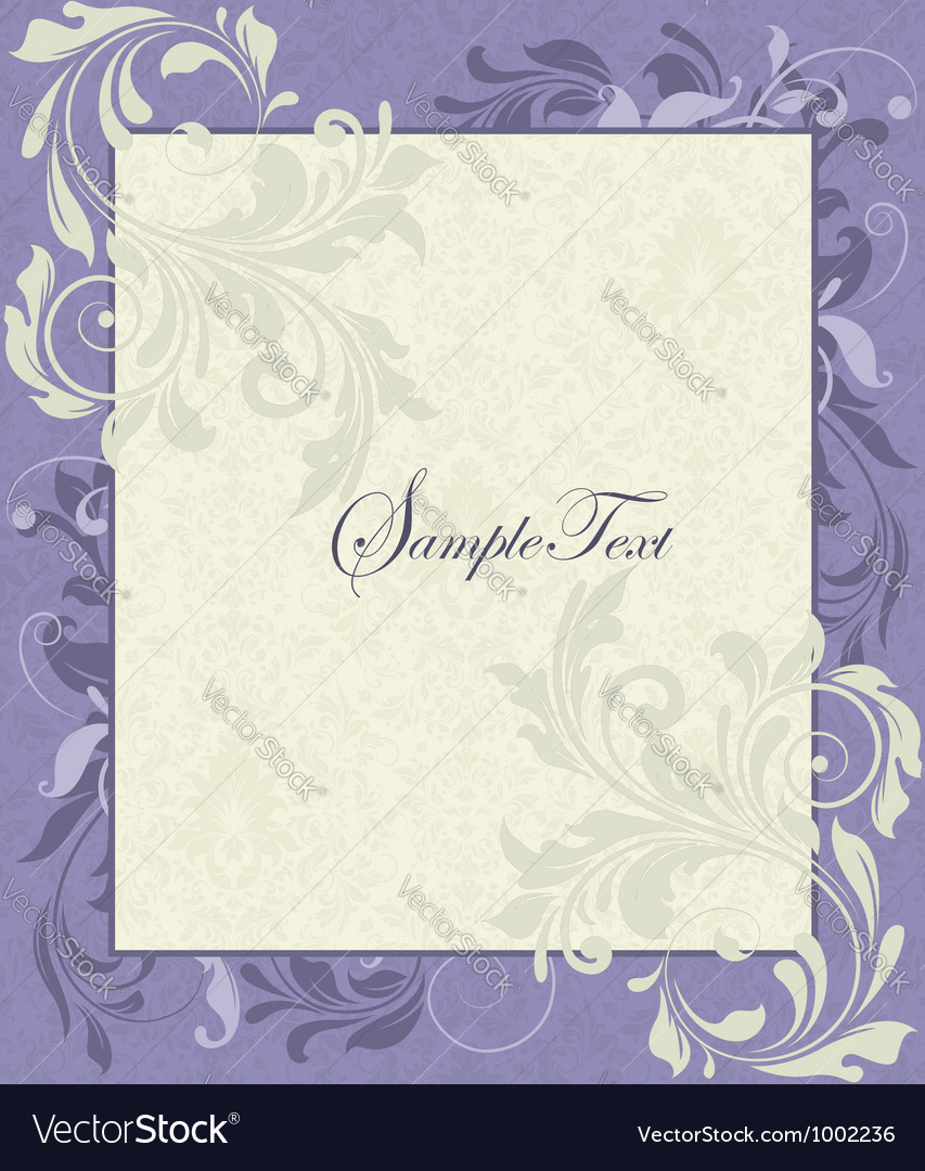 Purple and ivory vintage floral wedding invitation vector | Price: 1 Credit (USD $1)