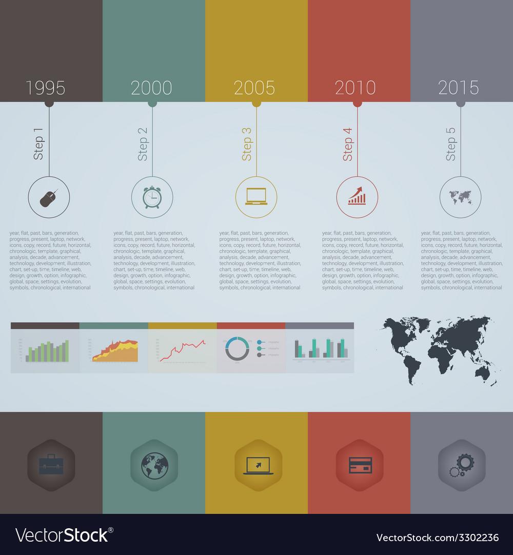 Retro timeline infographic design template vector | Price: 1 Credit (USD $1)
