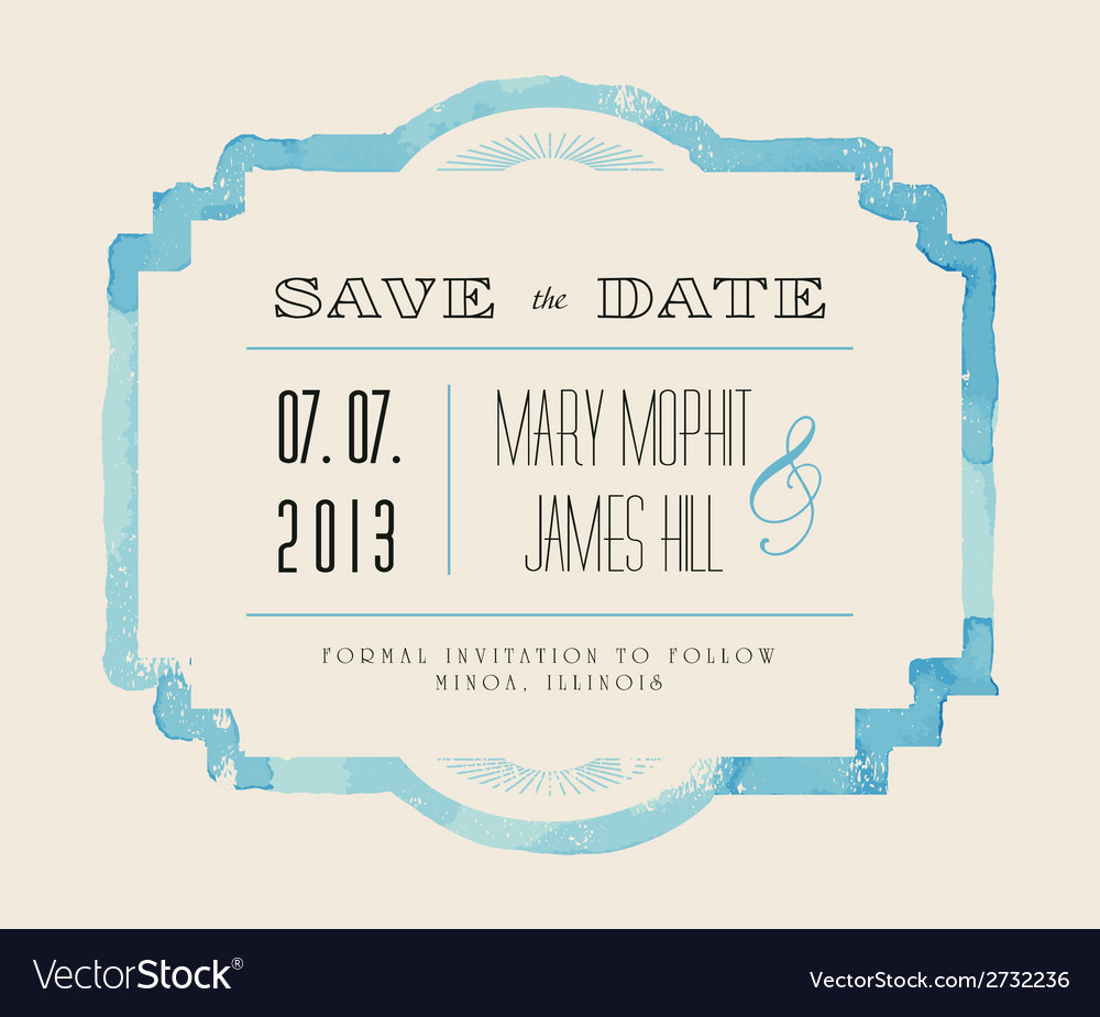 Save the date with watercolor frame vector | Price: 1 Credit (USD $1)