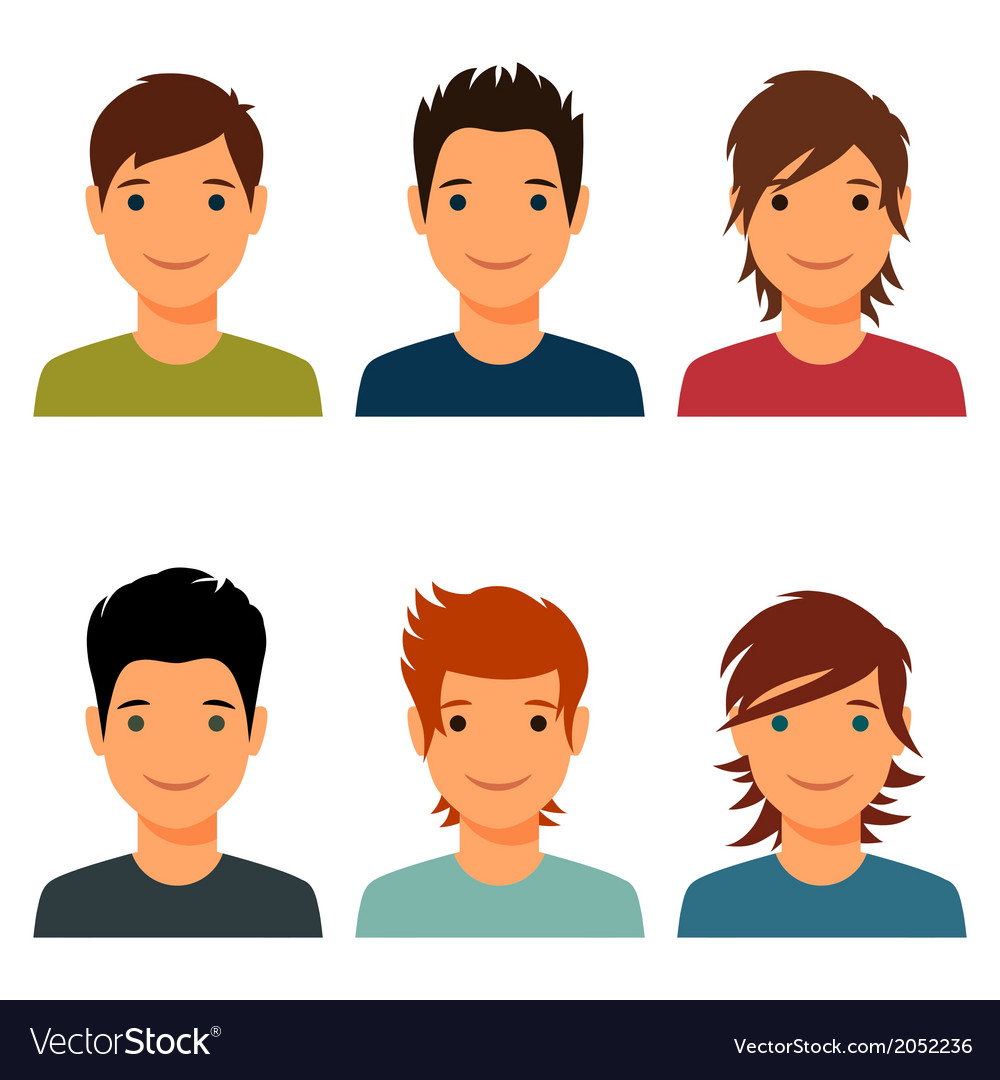 Set of cute young boys with various hair style vector | Price: 1 Credit (USD $1)