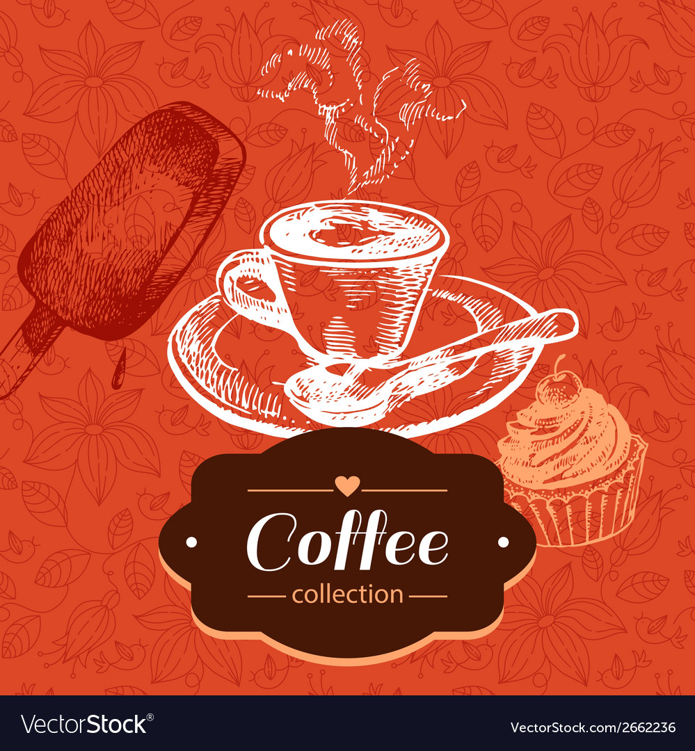Vintage coffee background vector | Price: 1 Credit (USD $1)