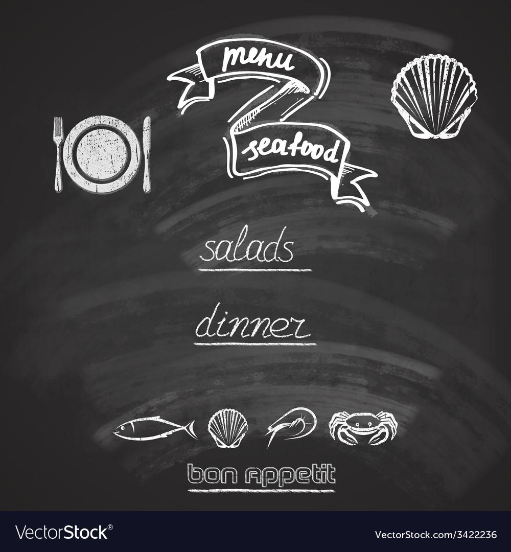 Vintage seafood menu design with chalkboard vector   Price: 1 Credit (USD $1)