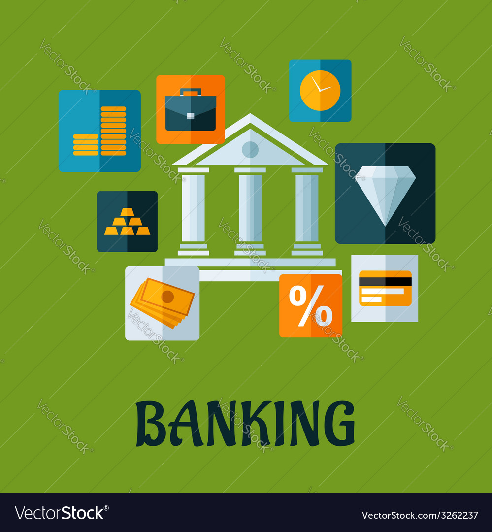 Banking flat infographic design vector | Price: 1 Credit (USD $1)