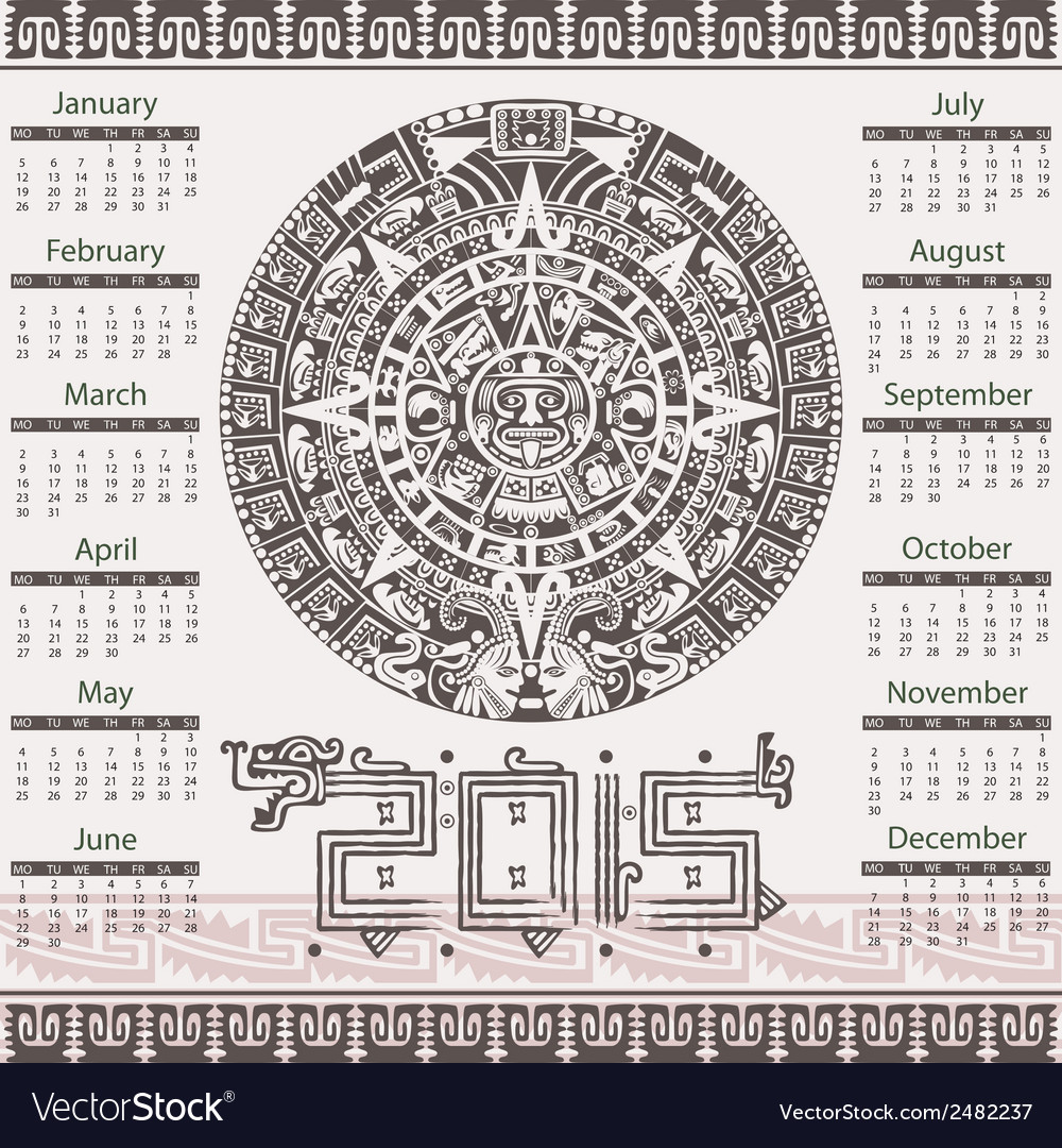 Calendar in aztec style vector | Price: 1 Credit (USD $1)