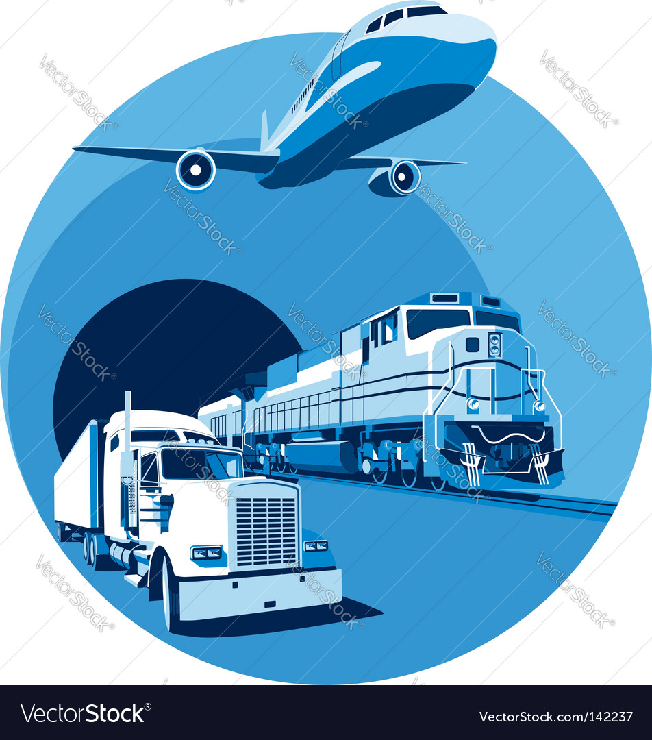 Cargo transportation blue vector | Price: 3 Credit (USD $3)