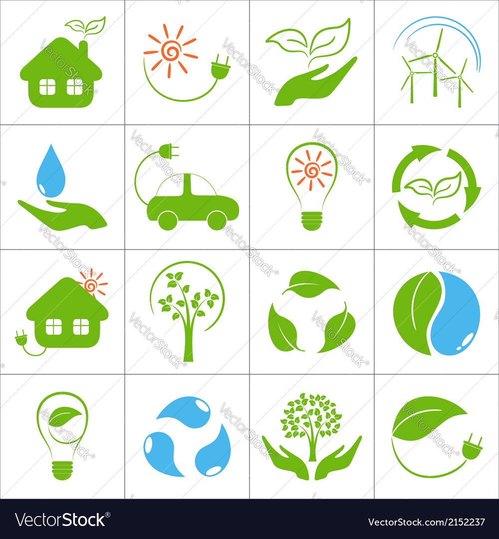 Eco icons vector | Price: 1 Credit (USD $1)