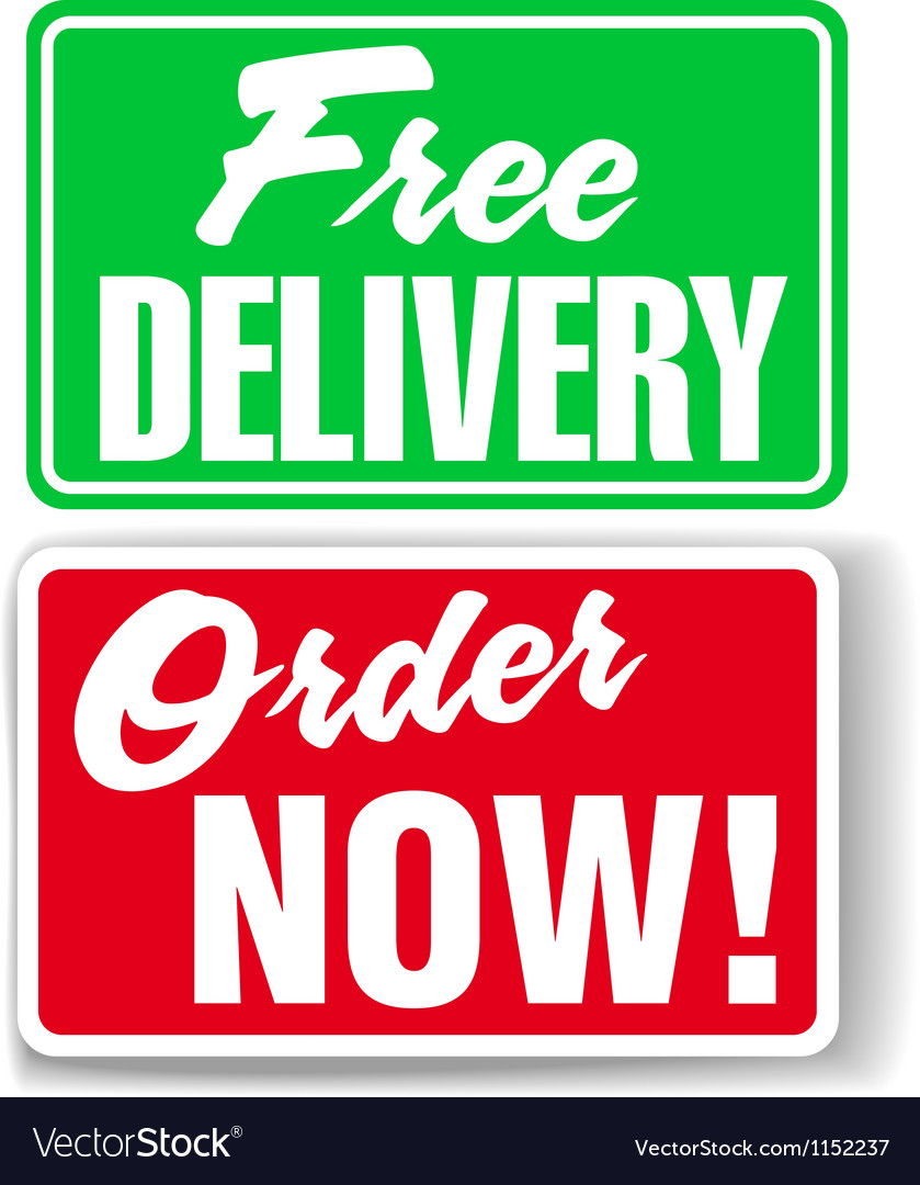 Free delivery order now website ad icons signs vector | Price: 1 Credit (USD $1)