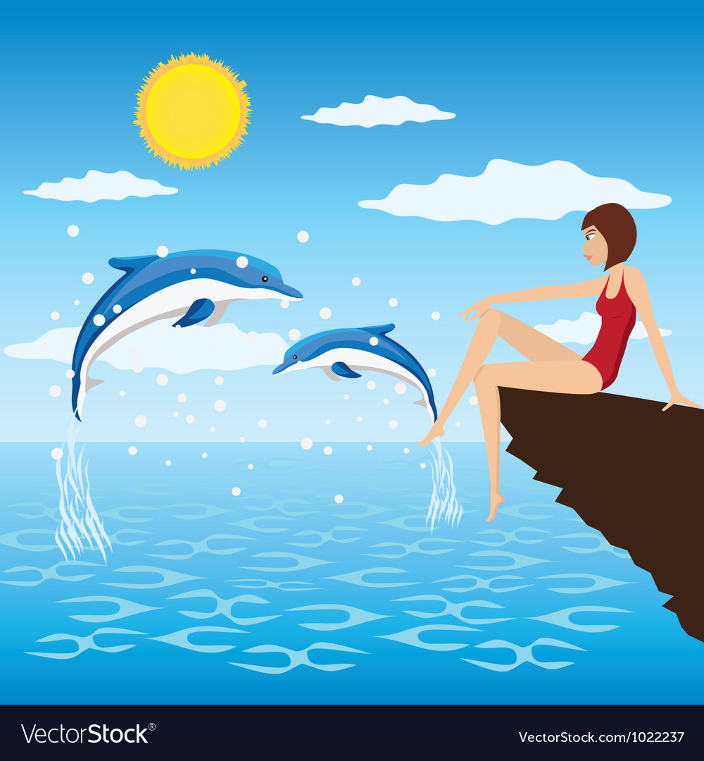 Girl and dolphins vector   Price: 3 Credit (USD $3)