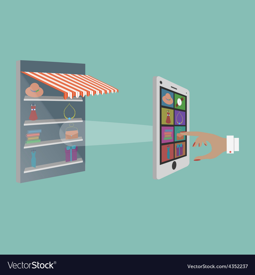 Lady buying goods in online store vector