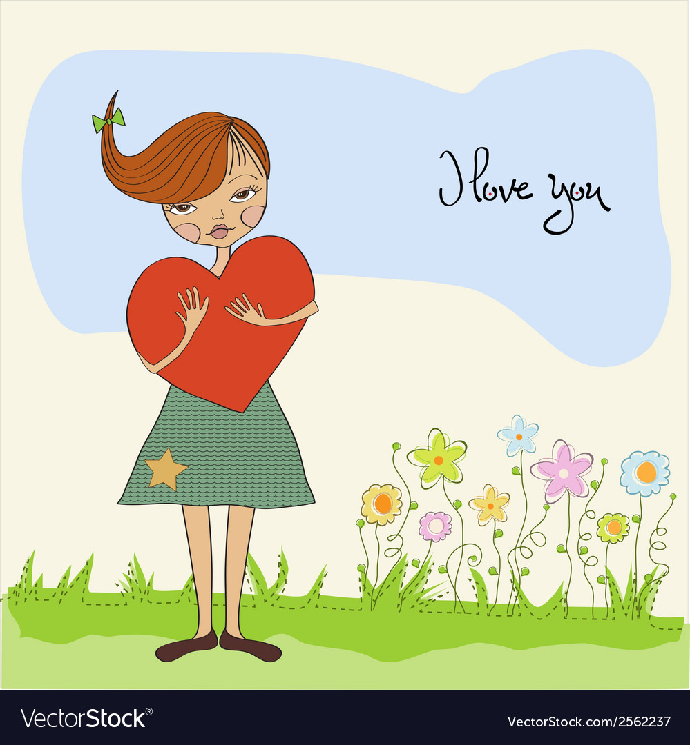 Romantic young girl with big heart vector | Price: 1 Credit (USD $1)
