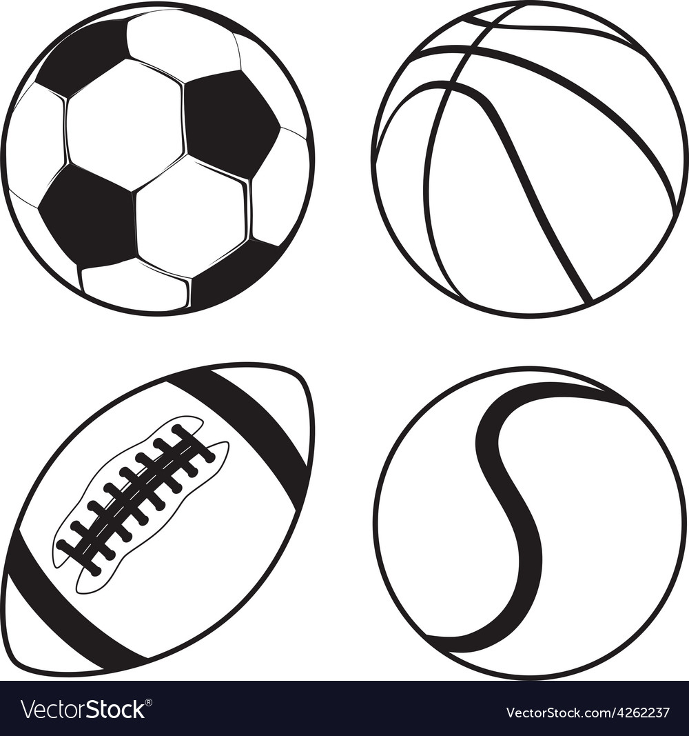 Set of sports balls soccer basketball american vector | Price: 1 Credit (USD $1)