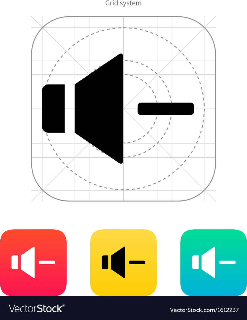 Speaker icon volume minus vector | Price: 1 Credit (USD $1)