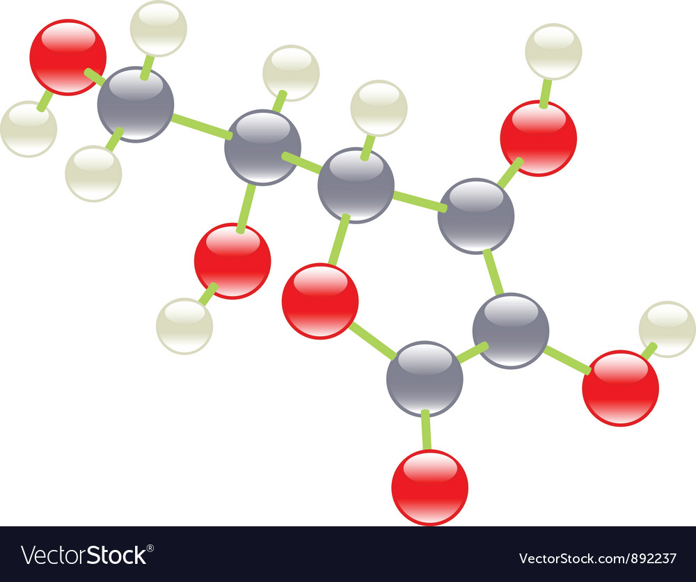 Vitamin c molecule vector | Price: 1 Credit (USD $1)