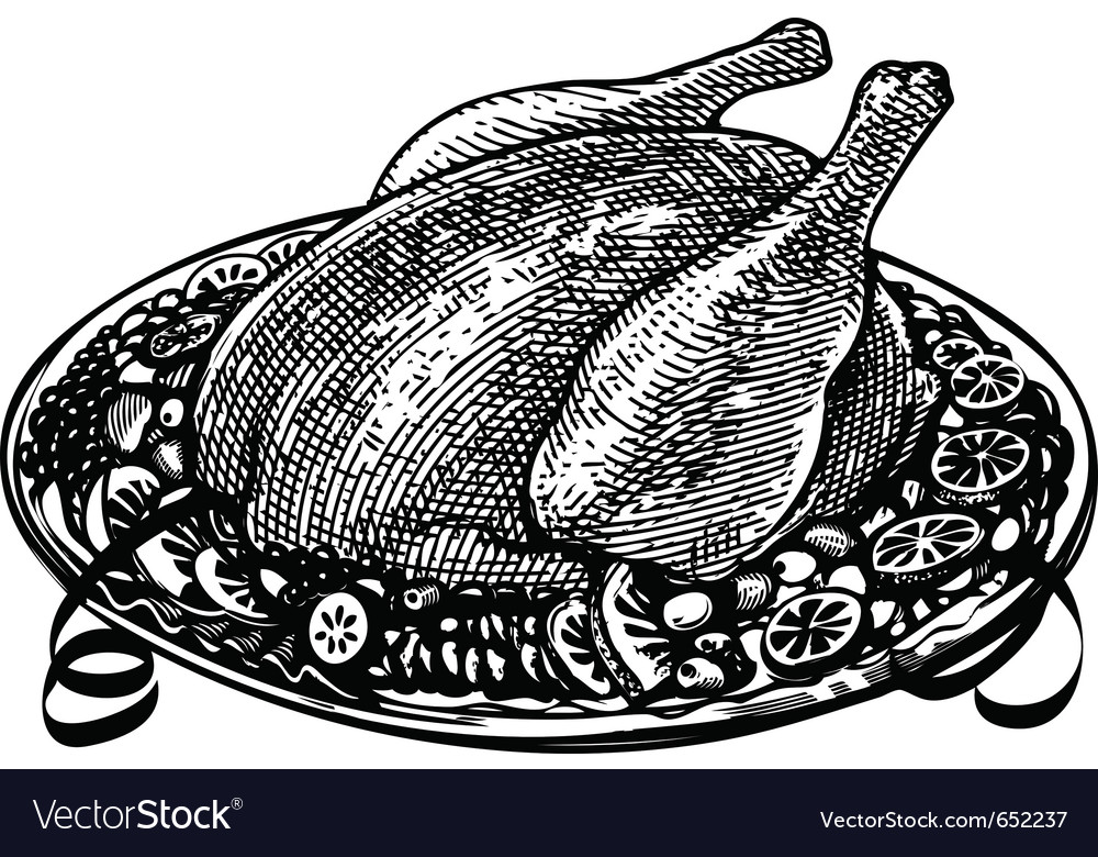 Whole roasted turkey in engraved style vector | Price: 1 Credit (USD $1)