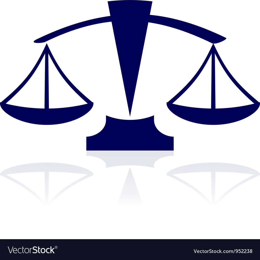 Blue justice scales icon vector | Price: 1 Credit (USD $1)