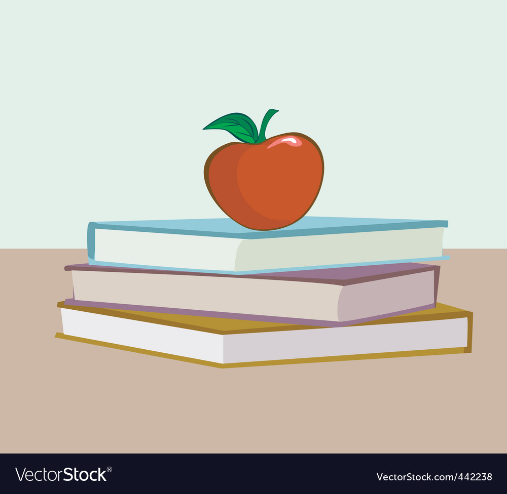 Books and apple vector | Price: 1 Credit (USD $1)
