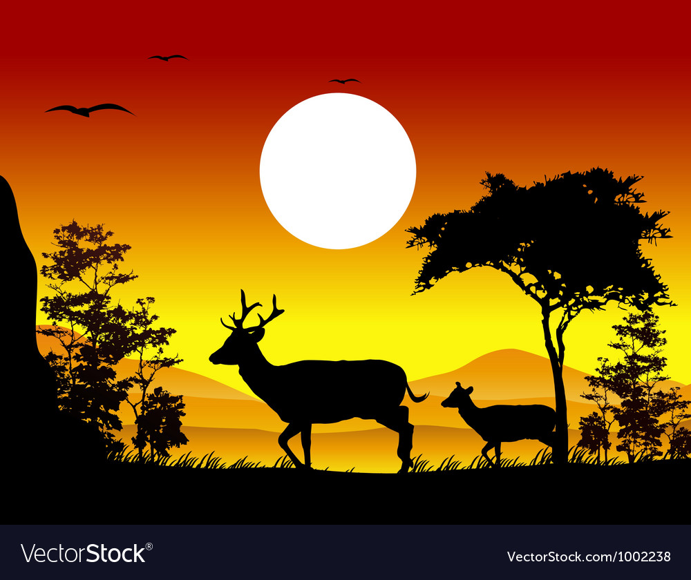 Deer silhouettes with landscape background vector | Price: 1 Credit (USD $1)