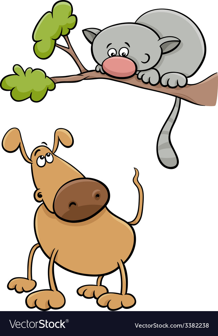 Dog and cat cartoon vector | Price: 1 Credit (USD $1)