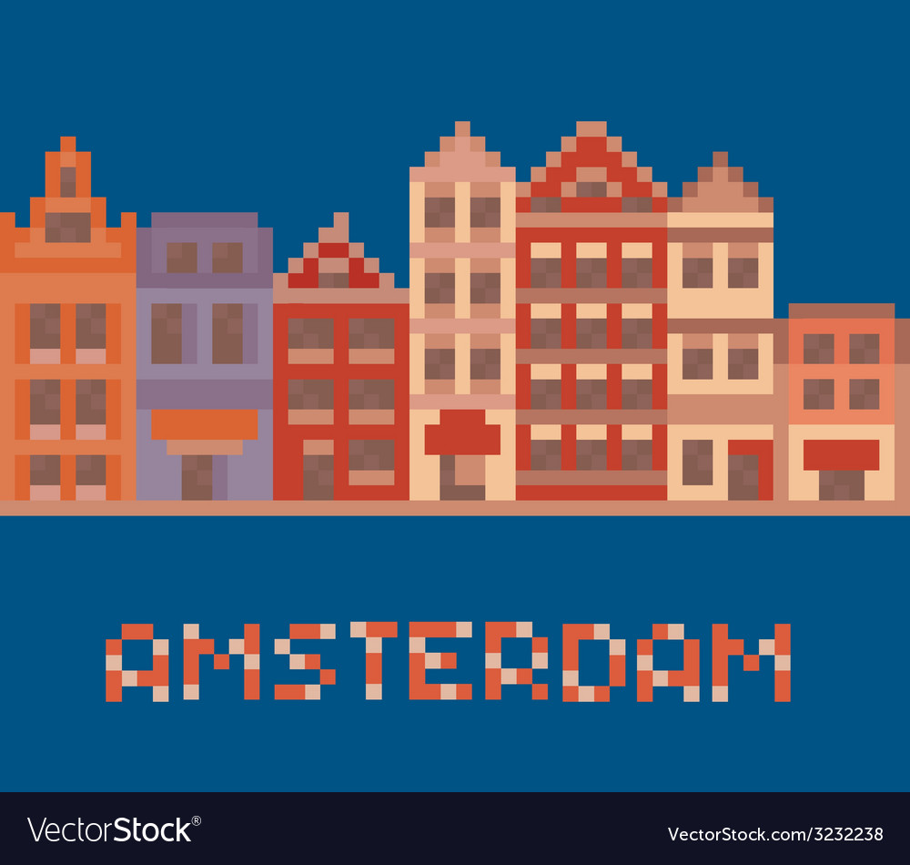 Pixel art shows amsterdam holland facades of old vector | Price: 1 Credit (USD $1)