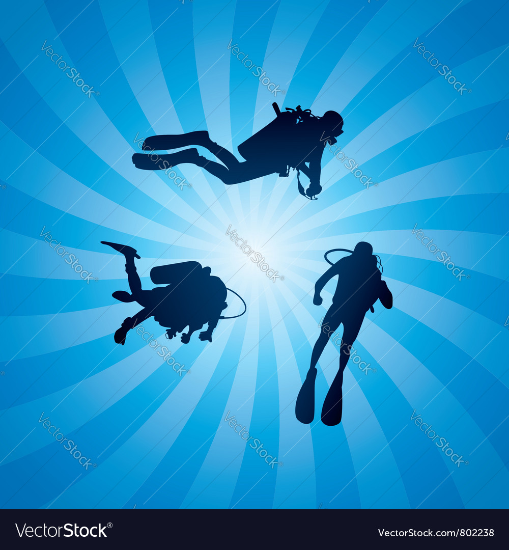 Scuba divers underwater vector | Price: 1 Credit (USD $1)