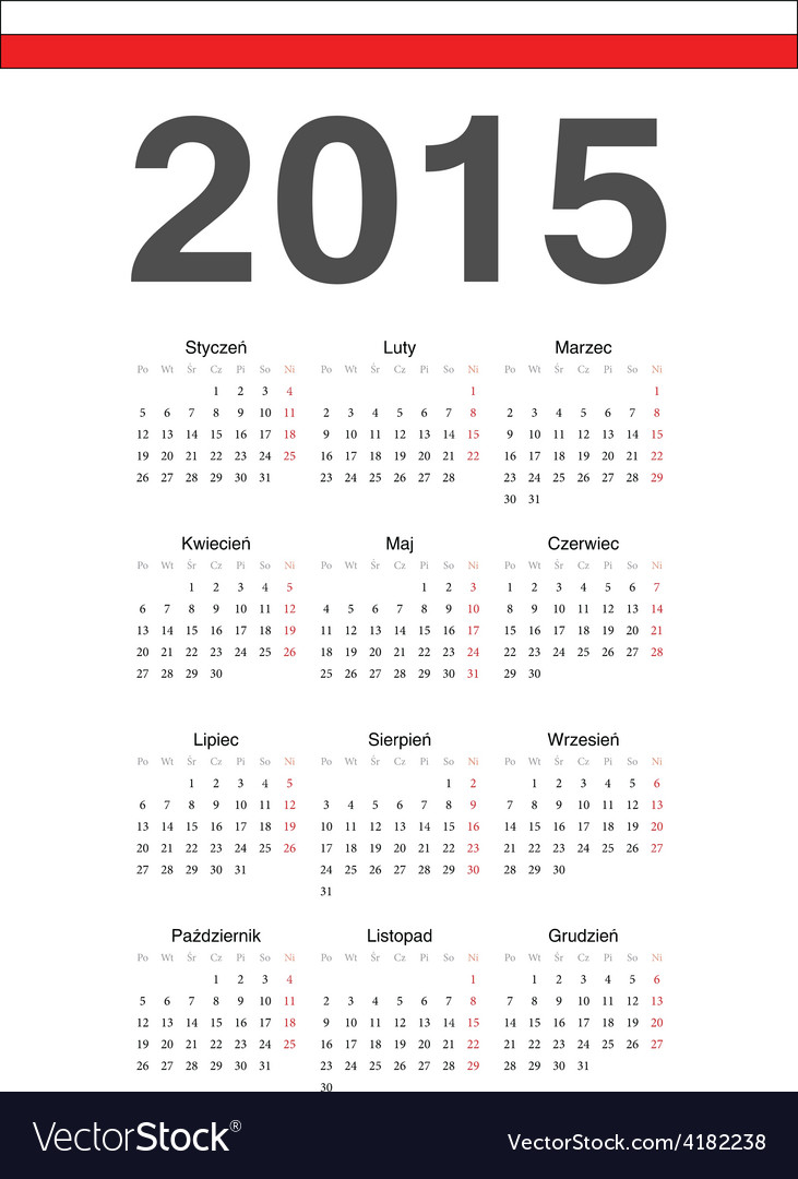Simple polish 2015 year calendar vector | Price: 1 Credit (USD $1)
