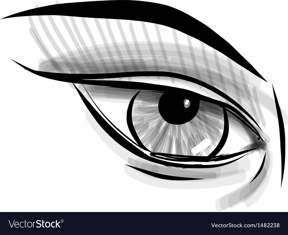 Sketch eye childish doodle style vector | Price: 1 Credit (USD $1)