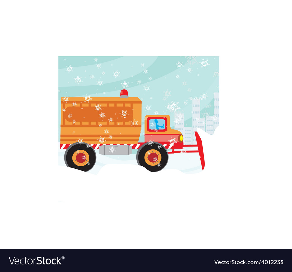 Snowplough during operation vector | Price: 1 Credit (USD $1)