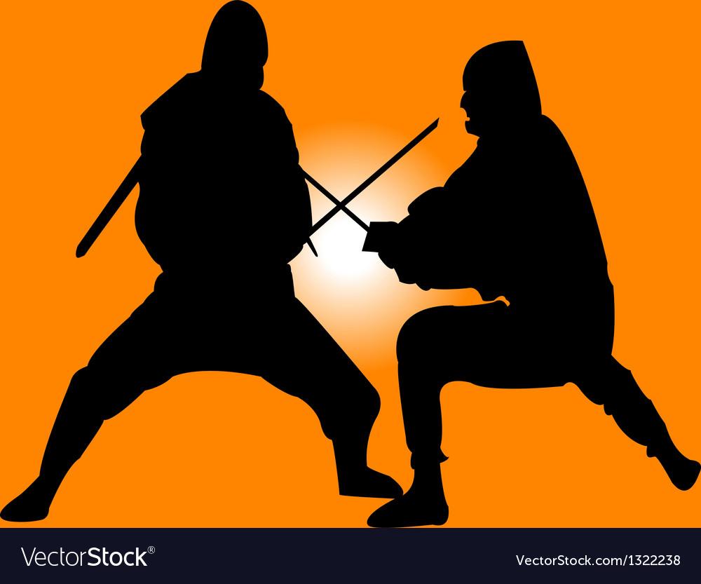 Two ninja vector | Price: 1 Credit (USD $1)