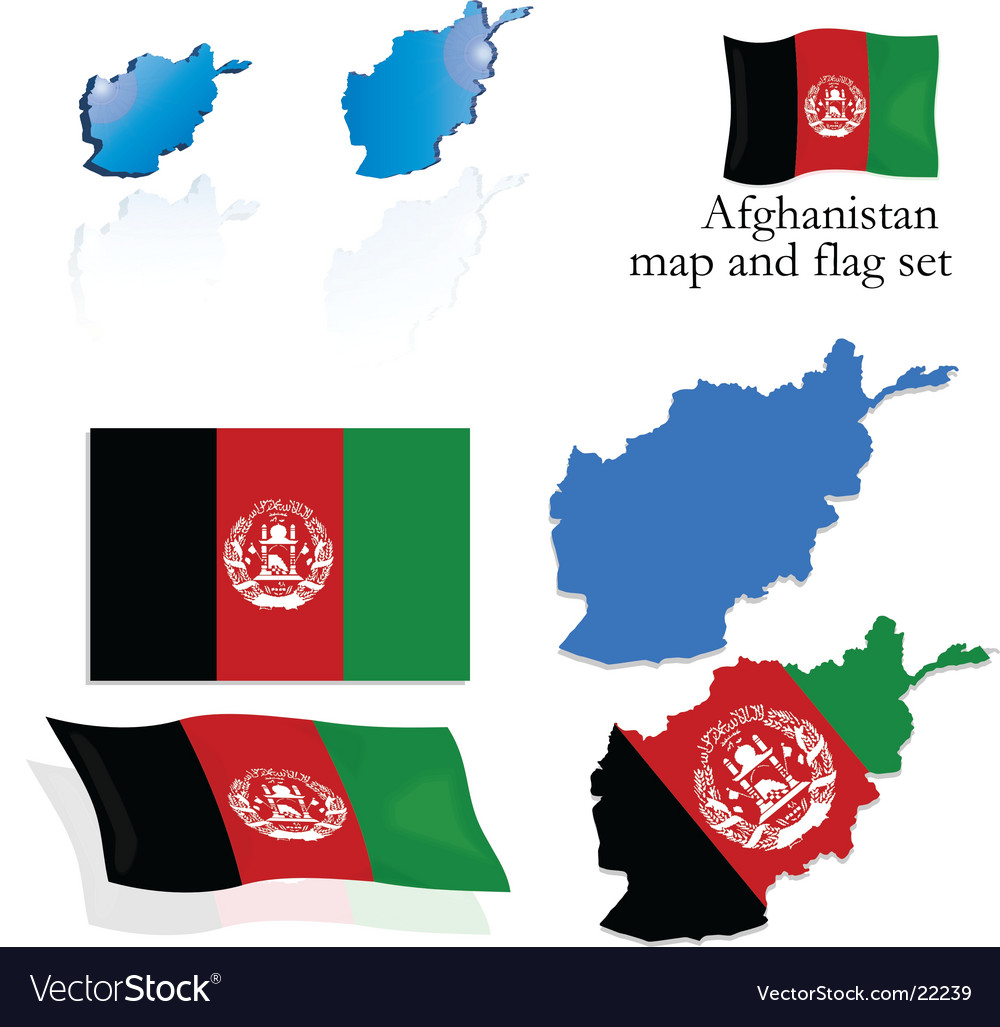 Afghanistan map and flag set vector | Price: 1 Credit (USD $1)